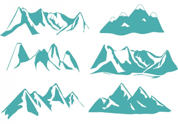 Silhouette Rocky Mountains Euclidean Vector Illustration Transparent Background PNG Clipart